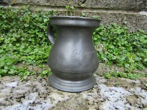Antique-pewter-tankard-19th-century-metalware-with-name-on-front