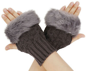 Women/'s Girls Arm Warmer Fingerless Short Knit Gloves With Faux Fur Mitts