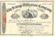 PENNSYLVANIA 1871 City Sewage Utilization Company Stock Certificate