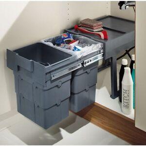 RECYCLE WASTE BIN Under Sink KITCHEN CUPBOARD CABINET Built in 2 x ...