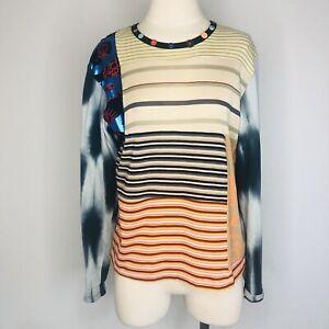 Custo-Barcelona-Women-s-Size-2-Long-Sleeve-Button-Top-Art-To-Wear-Tie-Dye-D21