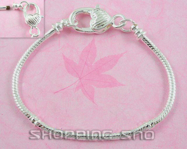 RUBYCA Silver Snake Chain Starter Charm Bracelet Screw-end Heart Lobster Clasp