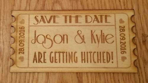 Save The Date Wooden Vintage Ticket Wedding Magnet Invitation Personalised