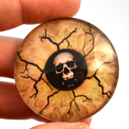 40mm Skull Eyes of Death Glass Eyes Cabochon Set Spooky Jewelry or Sculptures