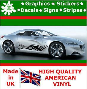 Sticker Jaguar Flame Set of 2 Side Graphic Fire 4x4 Decal Vinyl Sport Car Van 85