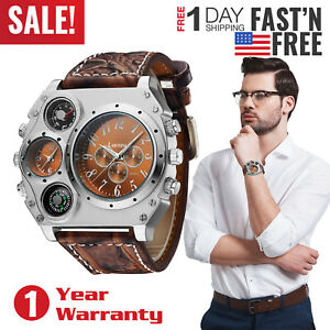 Men-s-Quartz-Watch-Two-Time-Zone-Big-Face-Military-Compass-Dial-PU-Leather-Band