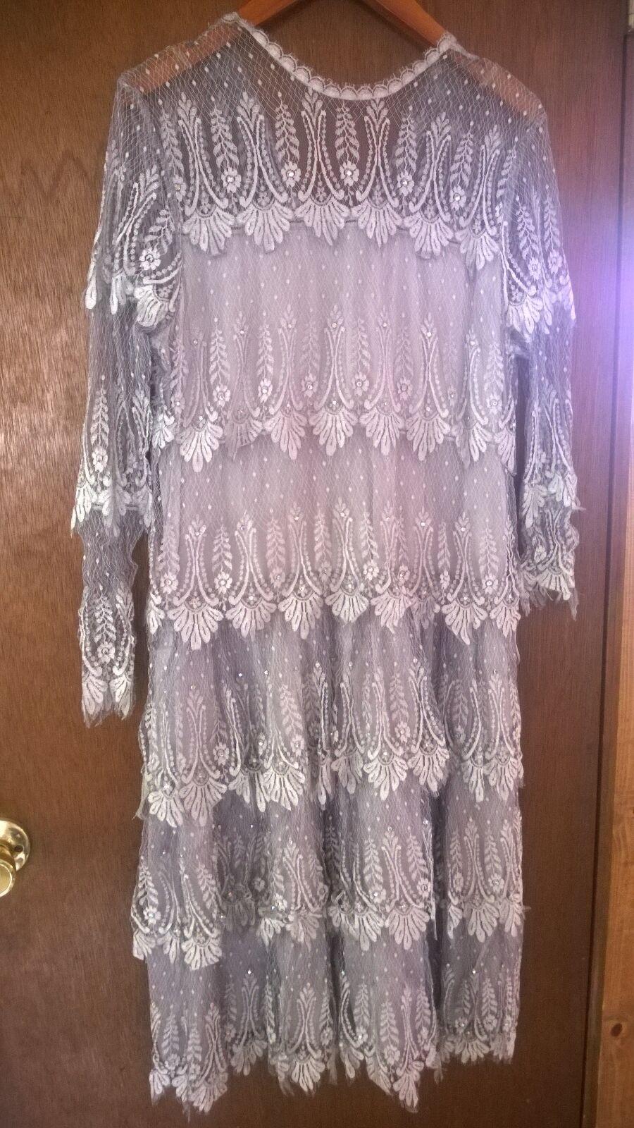 Vintage  RINA DI MONTELLA Nieman-Marcus Drop skirt Silk Lace Dress Sz 12