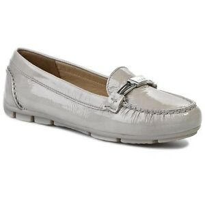 Details zu Geox Marva Women's UK 4 to 7.5 Grey Patent Leather Slip On Moccasin Loafer Shoes UmpKc