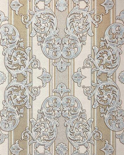 EDEM 580-30 Barock-Tapete Textiloptik Metallic Effekt hell-elfenbein gold 5,3 m2
