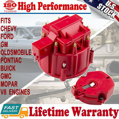 HEI Distributor Cap High Performance Red Male Distributor Cap Rotor Kit for CHEVY FORD MOPAR Compatible for K549 SBC 283 305 307 327 350 400 BBC 454 396 427