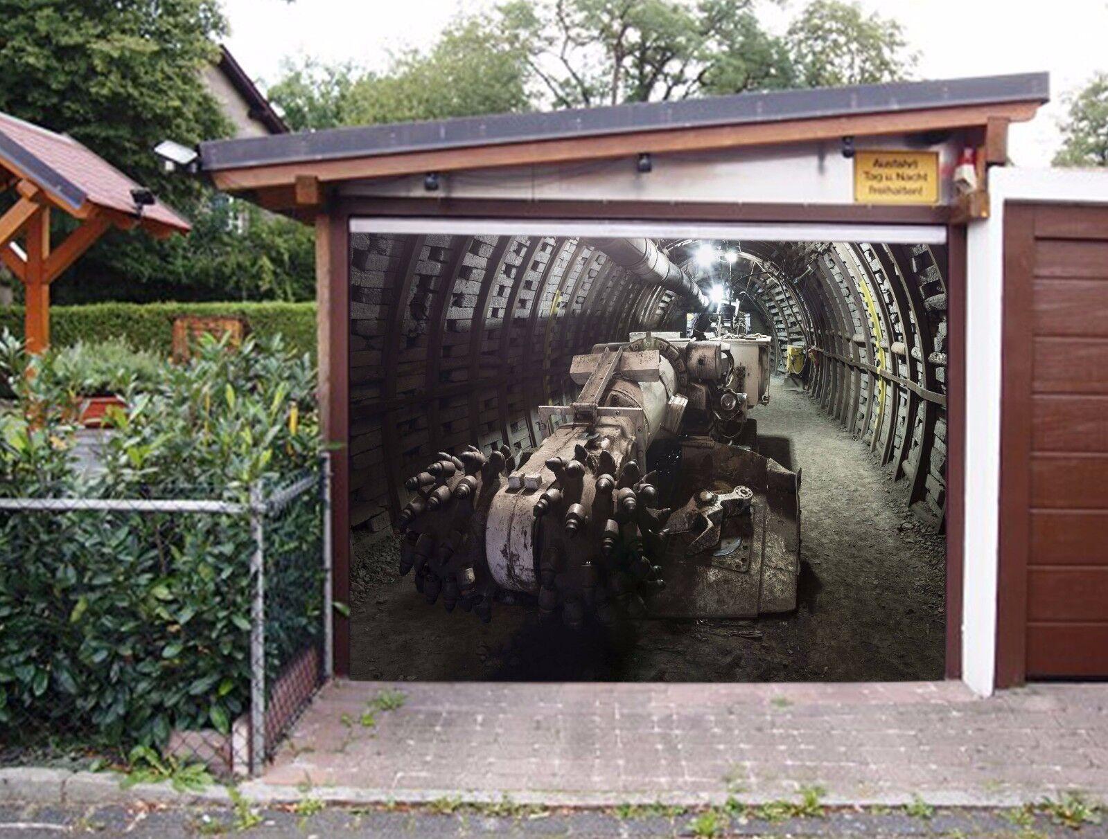 3D 3D 3D Machine Tunnel 563 Garage Door Murals Wall Print Wall AJ WALLPAPER UK Lemon 955389