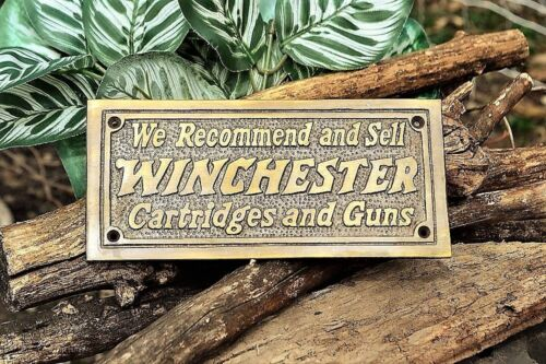 Solid Brass Sign Winchester Repeating Arms Cartridges And Guns Wall Plaque