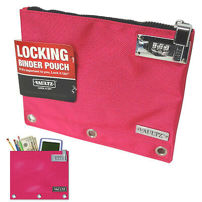 Vaultz Locking Zipper Binder Pouch Combination Lock Mini Bag Purse Cash Pink New