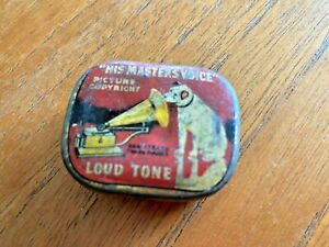 Vintage Collectable His Master's Voice Loud Tone Gramophone Needles in Metal Tin