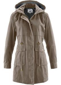 Damen-Parka-Jacke-Jersey-Futter-Winter-Frauen-Jacket-Taupe-Braun-Groesse-40-NEU