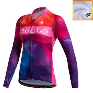 Women/'s Cycling Jersey Outdoor Bike Bicycle Clothing Long Sleeve Warm Shirt