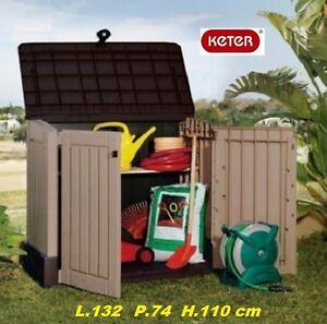 Portattrezzi box armadio baule in resina per esterno for Armadio per giardino