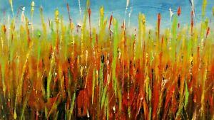 Giancarlo-Bellisini-dipinto-acrilico-su-tela-cm-60x40-034-Campo-di-pane-034-firmato
