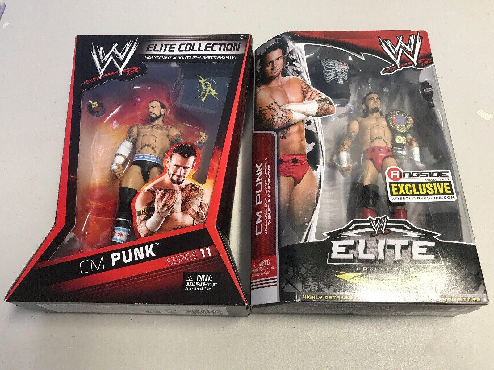 WWE Elite 11 & Ringside exclusivo Cm Punk Figure 2 Figure Punk Lote poco común de menta en tarjeta fe87f3