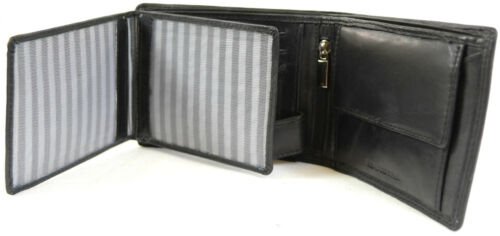 Men/'s Soft Leather Tri-Fold Wallet with Multiple Features Black, Brown, Tan
