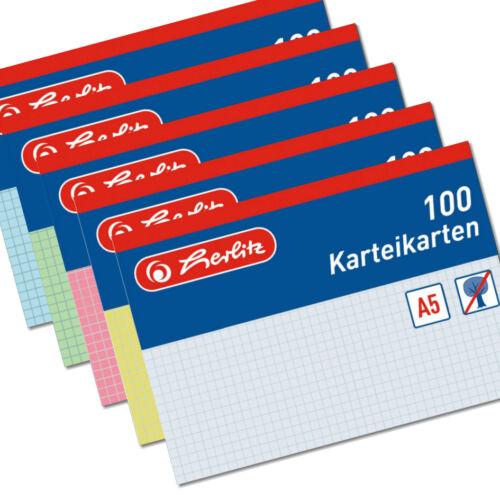 100 Herlitz Karteikarten A5 kariert verschiedene Farben Karteikarte