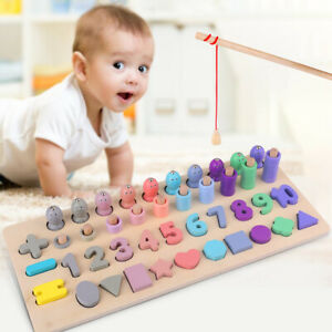 Montessori-Number-Wooden-Kids-Puzzle-Count-Fishing-Learning-Educational-Math-Toy