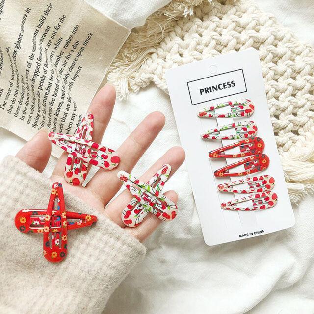6 Pcs/Set Cherry Flower Hairpin Clip Chic Retro Cute Korean Vintage Hair Clips