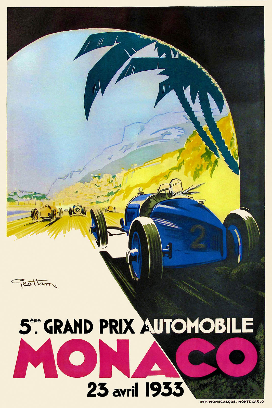 France 1935 Art Déco Voyage//Course Automobile Affiche Monaco