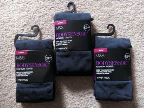 3 pares de nuevo M/&S bodysensor dos capas 60 Denier Moda Calzas tamaño grande