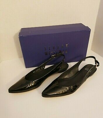 Stuart Weitzman Slingo Black Patent Slingback Pointy Toe Heels $385 Spain