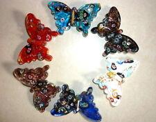 lots mixed 24pcs Murano lampwork glass vogue Lady's sea butterfly style pendants