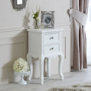 White wood 2 drawer bedside chest table shabby vintage chic bedroom ...