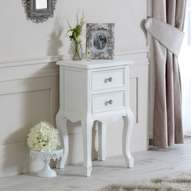 White Wood 2 Drawer Bedside Chest Table Shabby Vintage Chic Bedroom Furniture