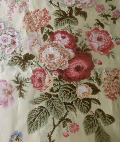 Antique Botanical Floral Chintz Fabric  #1 ~ Sage Lavender Pink Red Butter Cream