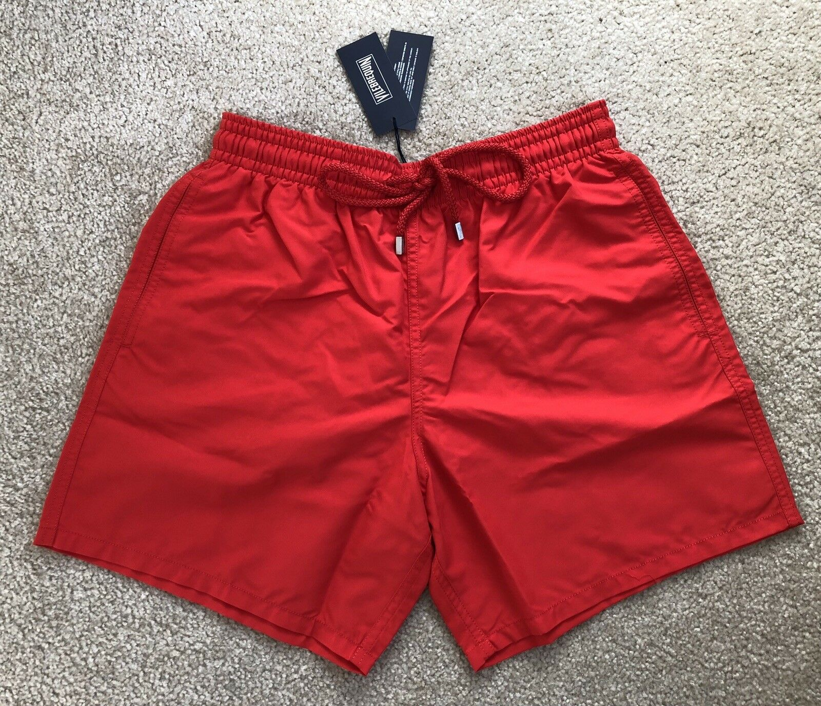 New w Tags Authentic Vilebrequin MOOREA Red Swim Trunks for Men L
