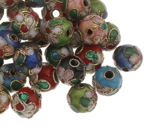 20 abalorios Cloisonne 6mm tibetana filigrana metal perlas coloridas Mix Best r240