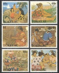 Tokelau-1990-Weaving-Palm-Trees-Basket-Making-Cloth-Textiles-Crafts-6v-n40479