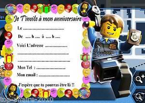 5 Cartes Invitation Anniversaire Lego City 04 D Autres En Vente