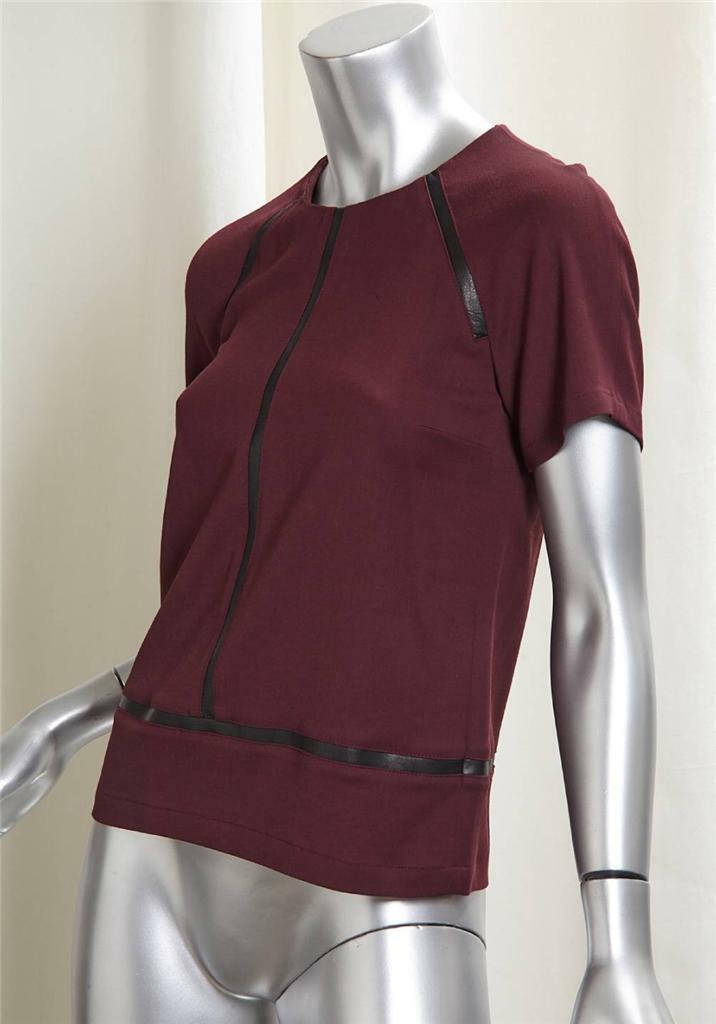 GERARD DAREL braun Wool schwarz Leather Panel Shirt Top Blouse 2-34 NEW