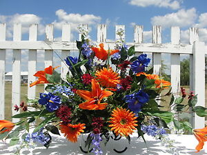 2-Sided-Summer-Fall-Memorial-Flowers-Labor-Day-Cemetery-Silk-Tombstone-Saddles