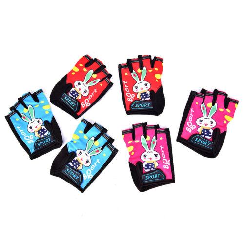 Bike Bicycle Gloves Kids Child Rabbit Outdoor Sports Non Slip Half Finger Glo/_hg
