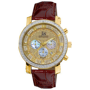 Men-039-s-Joshua-amp-Sons-JS-28-03-Quartz-Chronograph-Diamond-Brown-Leather-Watch