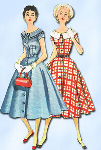 1950s Vintage SImplicity Sewing Pattern 1031 Uncut Misses Day Dress Size 30 Bust