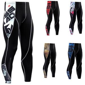 Mens-Compression-Tights-Running-Jogging-Gym-Long-Pants-Black-Base-layer-Printed