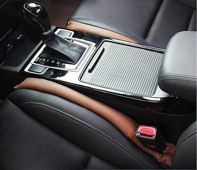 2 Pcs Brown  Artificial Leather Seat Armrest Gap Drop Filler Leak Proof For Benz