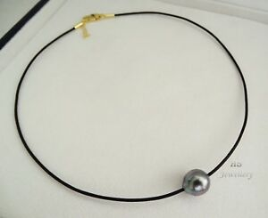 HS-11-07mm-Silvery-Dove-Grey-amp-Blue-Tahitian-Pearl-amp-Leather-Choker-Necklace