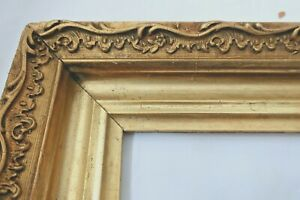 ANTIQUE FITS 11 X14 LEMON GOLD PICTURE FRAME WOOD GESSO ORNATE FINE ART COUNTRY
