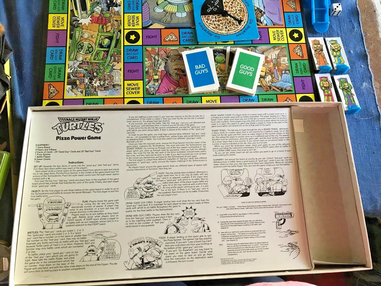 1989 1989 1989 TEENAGE MUTANT NINJA TURTLES PIZZA POWER GAME Nearly New pink ART Complete be671f