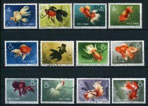 Volksrepublik-China-MiNr-534-45-gestempelt-Goldfische-Fis452
