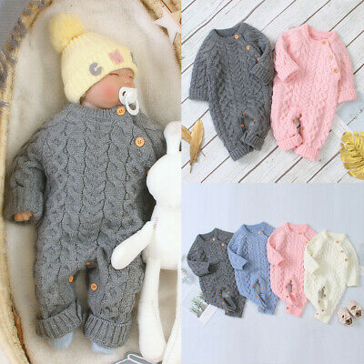 Winter Infant Baby Boy Girl Knitted Romper Hooded Wool Sweater Jumpsuit Outfits